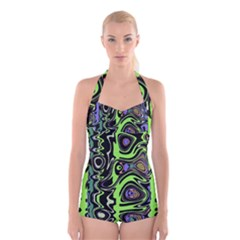 Green And Black Abstract Pattern Boyleg Halter Swimsuit  by SpinnyChairDesigns