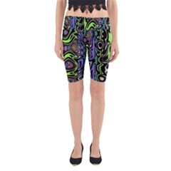Green And Black Abstract Pattern Yoga Cropped Leggings by SpinnyChairDesigns