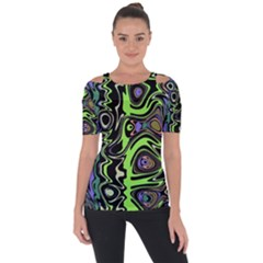 Green And Black Abstract Pattern Shoulder Cut Out Short Sleeve Top by SpinnyChairDesigns
