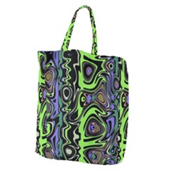 Green And Black Abstract Pattern Giant Grocery Tote by SpinnyChairDesigns