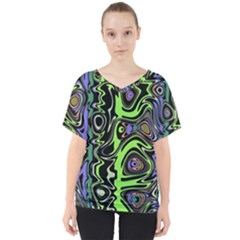 Green And Black Abstract Pattern V-neck Dolman Drape Top by SpinnyChairDesigns