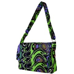 Green And Black Abstract Pattern Full Print Messenger Bag (s) by SpinnyChairDesigns