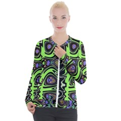 Green And Black Abstract Pattern Casual Zip Up Jacket by SpinnyChairDesigns