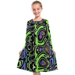 Green And Black Abstract Pattern Kids  Midi Sailor Dress by SpinnyChairDesigns