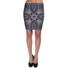 Black And White Intricate Pattern Bodycon Skirt by SpinnyChairDesigns