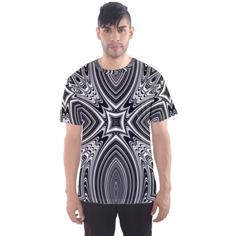 Black And White Intricate Pattern Men s Sport Mesh Tee by SpinnyChairDesigns