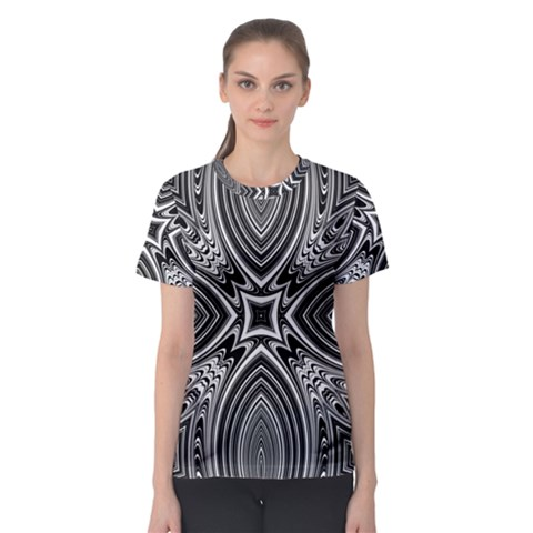 Black And White Intricate Pattern Women s Sport Mesh Tee by SpinnyChairDesigns