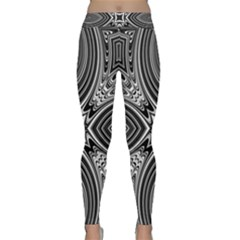 Black And White Intricate Pattern Classic Yoga Leggings by SpinnyChairDesigns