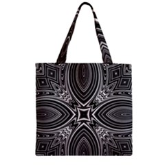Black And White Intricate Pattern Zipper Grocery Tote Bag by SpinnyChairDesigns