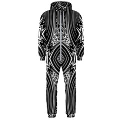 Black And White Intricate Pattern Hooded Jumpsuit (men)  by SpinnyChairDesigns