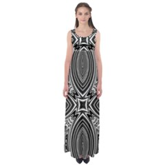 Black And White Intricate Pattern Empire Waist Maxi Dress by SpinnyChairDesigns
