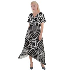 Black And White Intricate Pattern Cross Front Sharkbite Hem Maxi Dress by SpinnyChairDesigns