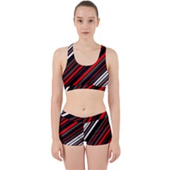 Red Black White Stripes Pattern Work It Out Gym Set by SpinnyChairDesigns