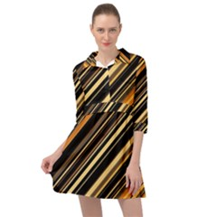 Black And Yellow Stripes Pattern Mini Skater Shirt Dress
