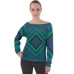 Blue Green Diamond Pattern Off Shoulder Long Sleeve Velour Top