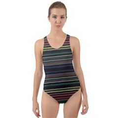 Dark Rust Red And Green Stripes Pattern Cut-out Back One Piece Swimsuit by SpinnyChairDesigns