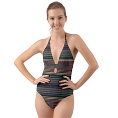 Dark Rust Red And Green Stripes Pattern Halter Cut-out One Piece Swimsuit by SpinnyChairDesigns