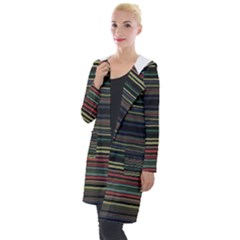 Dark Rust Red And Green Stripes Pattern Hooded Pocket Cardigan by SpinnyChairDesigns