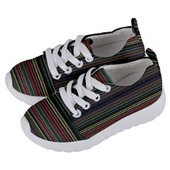 Dark Rust Red And Green Stripes Pattern Kids  Lightweight Sports Shoes by SpinnyChairDesigns