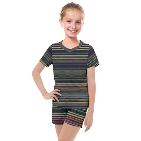 Dark Rust Red And Green Stripes Pattern Kids  Mesh Tee And Shorts Set by SpinnyChairDesigns