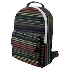 Dark Rust Red And Green Stripes Pattern Flap Pocket Backpack (small)