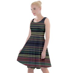 Dark Rust Red And Green Stripes Pattern Knee Length Skater Dress