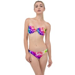 Colorful Tie Dye Pattern Texture Classic Bandeau Bikini Set by SpinnyChairDesigns
