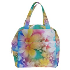 Watercolor Flowers Floral Print Boxy Hand Bag by SpinnyChairDesigns