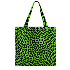 Abstract Black And Green Checkered Pattern Zipper Grocery Tote Bag