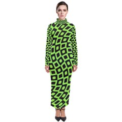 Abstract Black And Green Checkered Pattern Turtleneck Maxi Dress by SpinnyChairDesigns
