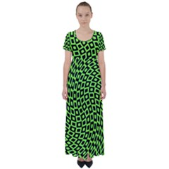 Abstract Black And Green Checkered Pattern High Waist Short Sleeve Maxi Dress