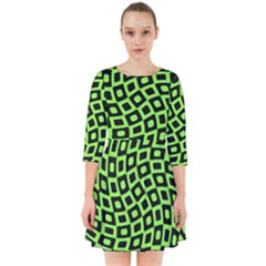 Abstract Black And Green Checkered Pattern Smock Dress