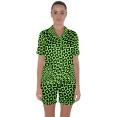 Abstract Black And Green Checkered Pattern Satin Short Sleeve Pyjamas Set