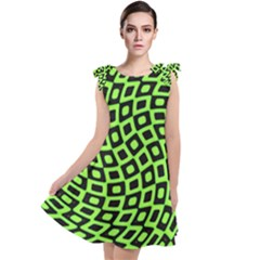 Abstract Black And Green Checkered Pattern Tie Up Tunic Dress