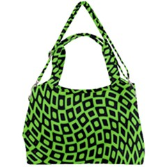Abstract Black And Green Checkered Pattern Double Compartment Shoulder Bag