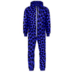 Abstract Black And Purple Checkered Pattern Hooded Jumpsuit (men)