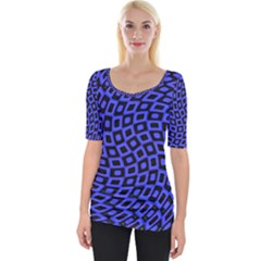 Abstract Black And Purple Checkered Pattern Wide Neckline Tee