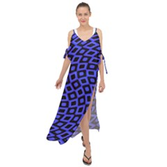 Abstract Black And Purple Checkered Pattern Maxi Chiffon Cover Up Dress by SpinnyChairDesigns