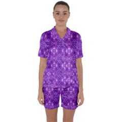 Geometric Galaxy Pattern Print Satin Short Sleeve Pyjamas Set