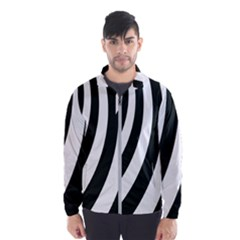 Black And White Zebra Stripes Pattern Men s Windbreaker by SpinnyChairDesigns