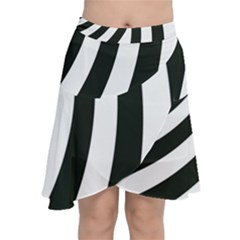 Black And White Zebra Stripes Pattern Chiffon Wrap Front Skirt