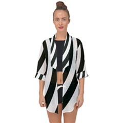 Black And White Zebra Stripes Pattern Open Front Chiffon Kimono