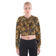 Monarch Butterfly Wings Pattern Cropped Sweatshirt by SpinnyChairDesigns