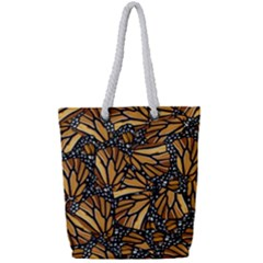 Monarch Butterfly Wings Pattern Full Print Rope Handle Tote (small)