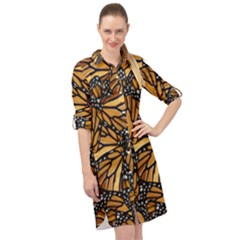 Monarch Butterfly Wings Pattern Long Sleeve Mini Shirt Dress by SpinnyChairDesigns