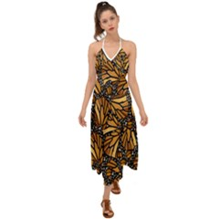 Monarch Butterfly Wings Pattern Halter Tie Back Dress