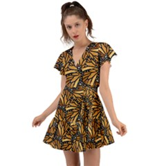 Monarch Butterfly Wings Pattern Flutter Sleeve Wrap Dress