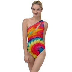 Colorful Dark Tie Dye Pattern To One Side Swimsuit by SpinnyChairDesigns