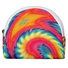 Colorful Dark Tie Dye Pattern Horseshoe Style Canvas Pouch