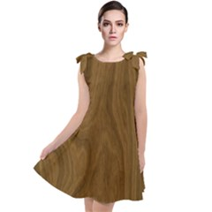 Dark Wood Panel Texture Tie Up Tunic Dress